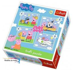 Puzzle Prasiatko Peppa Pig 4v1 Rodina
