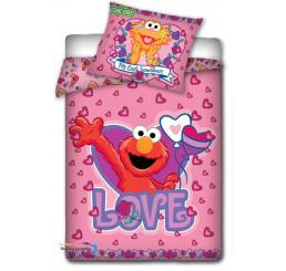 Obliečky do postieľky Sesame Street ružová 100x135