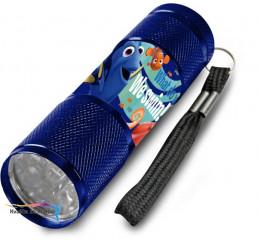Detská hliníková LED baterka Hľadá sa Dory modrá