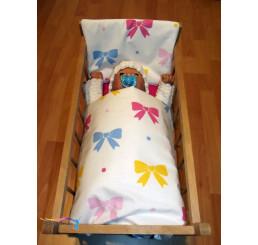 Perinky do postieľky pre bábiky Mašličky biele