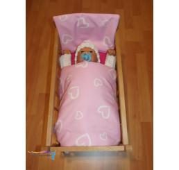 Perinky do postieľky pre bábiky srdiečka veľké ružové
