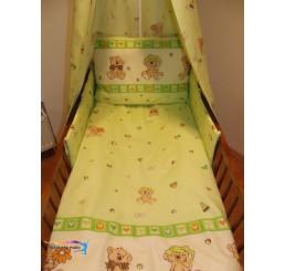 Obliečky do postieľky veselý medvedík zelenkavé 90x130