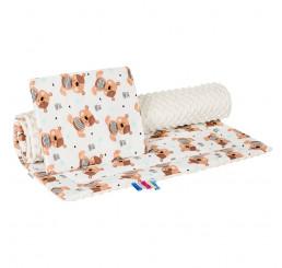 Obojstranný set do kočíku Teddy béžový Bavlna-Polyester, 75x100, 30x35 cm