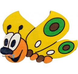 Drevená dekorácia Motýlik žltý s magnetom a lepkou