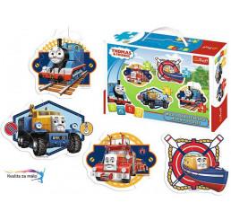 Baby puzzle mašinka Tomáš 2, 3, 4, a 5 dielikov