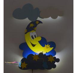 LED Lampička Mesiačik s hviezdičkami