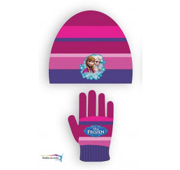 Čapica a rukavice Ľadové Kráľovstvo fialová 100% Akryl veľ. 52
