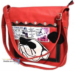 Crossbody kabelka červená-pes