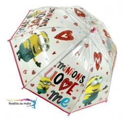 Priehľadný dáždnik Mimoni srdiečka
