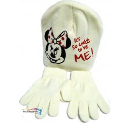 Detská čiapka s rukavicami Minnie béžová