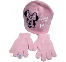 Detská čiapka s rukavicami Minnie ružová