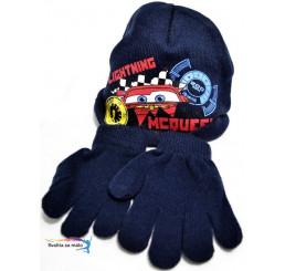 Detská čiapka s rukavicami Cars tmavo-modrá