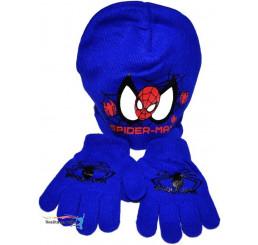Detská čiapka s rukavicami Spiderman modrá