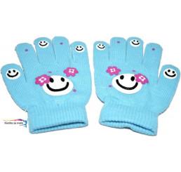 Detské rukavice smajlík modré