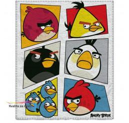 Fleece deka Angry Birds biela