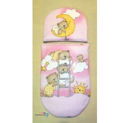 Perinky do kočíka pre bábiky Medvedíci na rebríku ružové