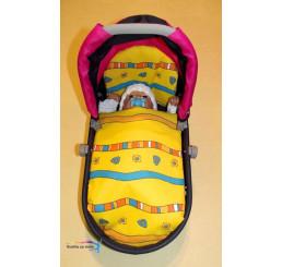 Perinky do kočíka pre bábiky prúžky žlté